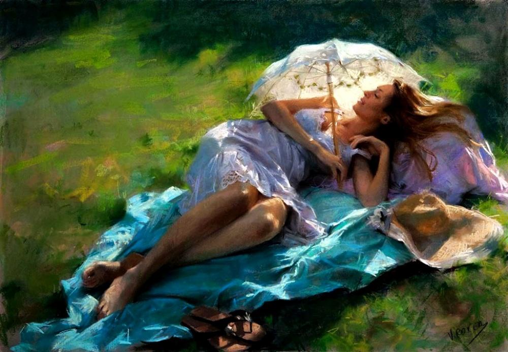 عکس تابلو نقاشی عاشقانه دختر تنها